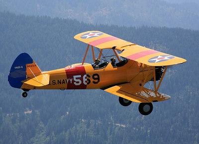 Biplane - Biplane airplane in flight. Bi-planes are used for flying and crop dusting and adventure flights. Flying in a biplane.