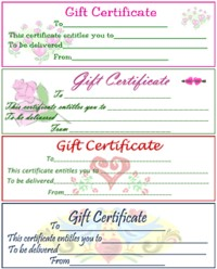 Gift Certificates - Gift Certificates print out