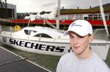 Michael Perham  - Michael Perham poses with his yacht Cheeky Monkey before setting off across the Atlantic Ocean.