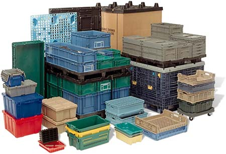 Plactic equepment examples - These are plastic baskets and container.