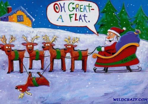 santa's ride and it got a flat - santa's ride