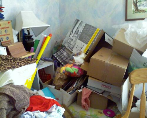 Clutter can suffocate you!  Progess not Perfection - My back room clutter shameful!