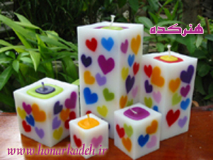 candles - unusual candles.....as u can see hearts of different colours in the candle....just how are these made????
