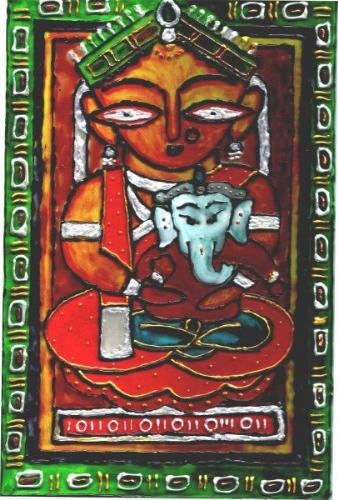 ganesh and durga - Hi i was searching in google for reknowned artist's paintings. i downloaded jamini roy's ganesh and durga   and painted the same on glass as glass art.